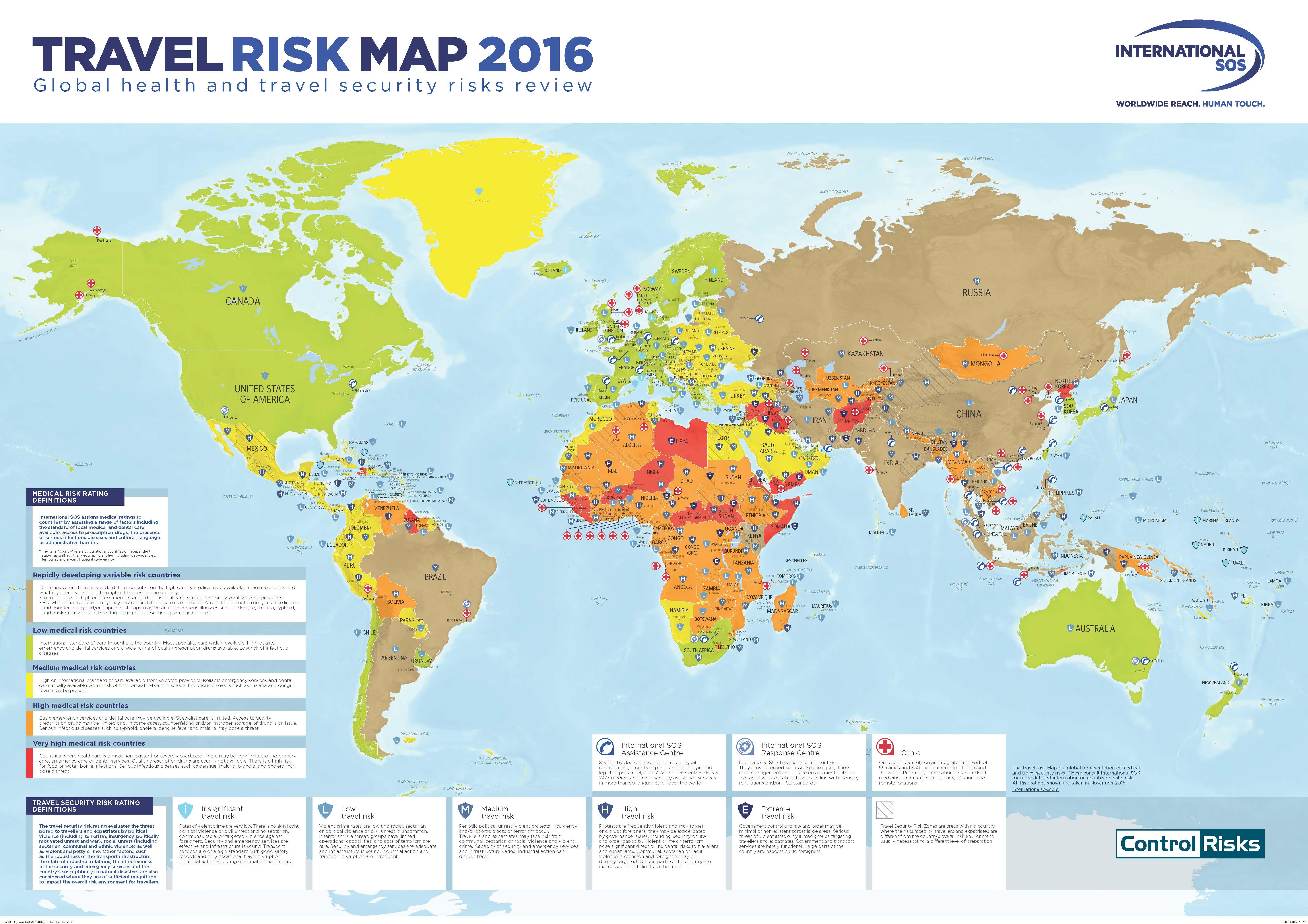 International SOS Travel Risk Map 2016